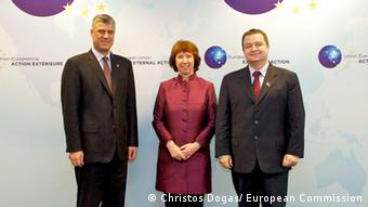 Hashim Thaci, Cathrin Asthon und Ivica Dacic