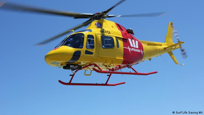 A yellow helicopter off the coast of Australia (Copyright: Surf Life Saving WA)