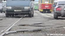 Kaputte Straßen in Kharkiv