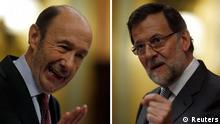 A combination picture shows Spain's Prime Minister Mariano Rajoy and opposition Socialist Party leader Alfredo Perez Rubalcaba during the State of the Nation debate at Parliament in Madrid February 20, 2013. Rajoy pledged on Wednesday to pull Spain out of its painful recession without relaxing his drive to cut the country's high public deficit. REUTERS/Sergio Perez (SPAIN - Tags: POLITICS BUSINESS)