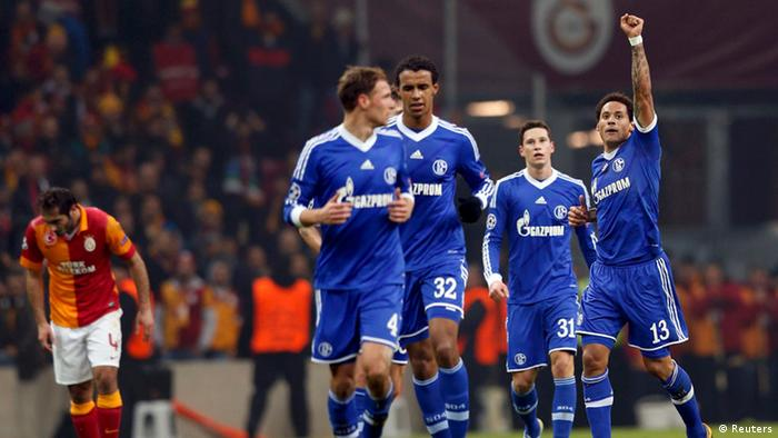 Schalke 04's Jermaine Jones (R) celebrates his goal against Galatasaray during their Champions League soccer match at Turk Telekom Arena in Istanbul February 20, 2013. REUTERS/Murad Sezer (TURKEY - Tags: SPORT SOCCER)