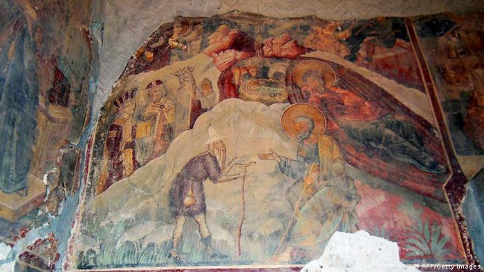 Damaged frescoes painted by Albania's most famous medieval painter Onufri in the St. Paraskevi church in the village of Vlash. A 16th century Orthodox church, considered a jewel of Albania's culture and being part its national heritage, was vandalized while some parts of its frescoes were stolen.