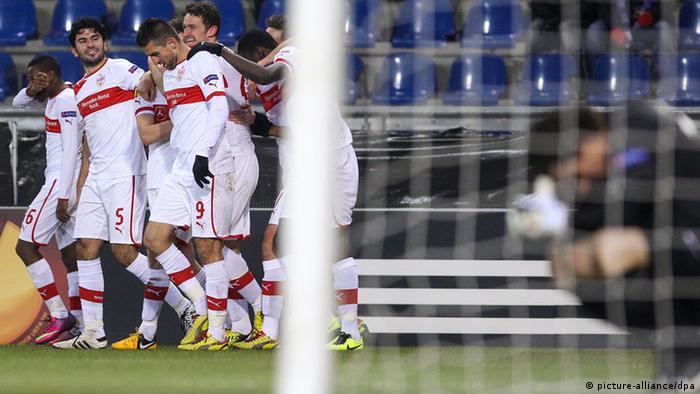 Stuttgart team players celebrates after scoring the 2-0(Photo: EPA/JULIEN WARNAND, dpa)