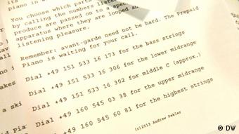 A script used as part of Andrew Pekler's installation Prepaid Piano (c) DW
