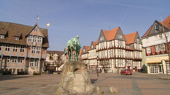Braunschweig city center - market square surrounded by historic buildings
