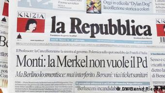 Photo of Italian newspaper La Repubblica with the headline Monti: la Merkel non vuole il Pd