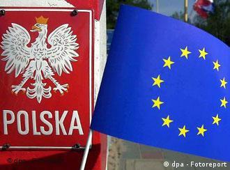 A Polish national emblem and an EU flag