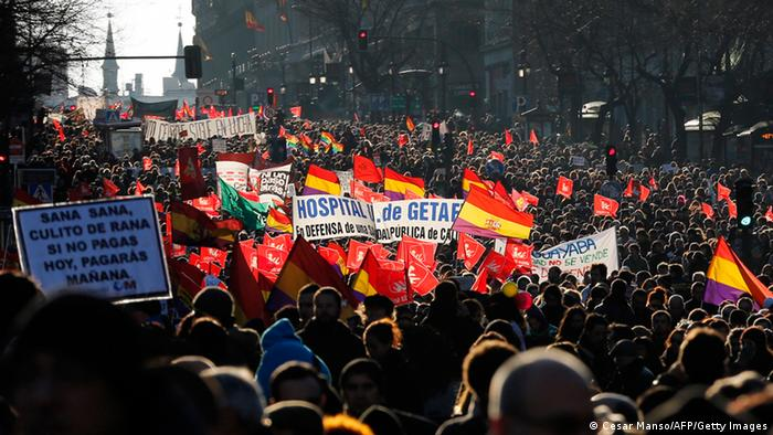 Public workers, small political parties and non-profit organisations stage a protest against government austerity in Madrid. (Photo: Cesar Manso/AFP/Getty Images)