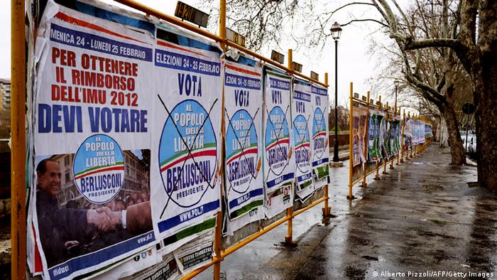 Election posters as seen on February 23, 2013 in Rome (c) ALBERTO PIZZOLI/AFP/Getty Images