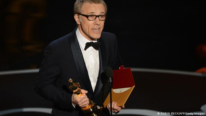 Best Supporting Actor Christoph Waltz addresses the audience at the 85th Annual Academy Awards on February 24, 2013 in Hollywood, California. AFP PHOTO/Robyn BECK (Photo credit should read ROBYN BECK/AFP/Getty Images)