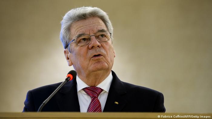 German President Joachim Gauck addresses the assembly on the opening day of the 22nd session of the United Nations Human Rights Council on February 25, 2013 in Geneva. The Council kicks off with widespread abuses in North Korea and Mali the top items on the agenda, along with the crisis in Syria. AFP PHOTO / FABRICE COFFRINI (Photo credit should read FABRICE COFFRINI/AFP/Getty Images)