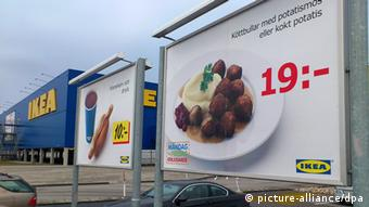 epa03600173 Advertising for Ikea meat balls in an Ikea store car park, in Malmo, Sweden, 25 February 2013. Furniture retailer Ikea says it has halted all sales of meat balls in Sweden after Czech authorities detected horse meat in frozen meatballs that were labeled as beef and pork. EPA/JOHANNES CLERIS SWEDEN OUT