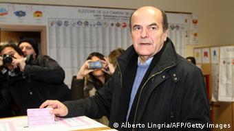 Democratic Party's Pier Luigi Bersani, the favourite to become Italy's prime minister after the general election, casts his ballot in a polling station on February 24, 2013 in Piacenza. Italians fed up with austerity went to the polls on Sunday in elections where the centre-left is the favourite, as Europe held its breath for signs of fresh instability in the eurozone's third economy. AFP PHOTO / ALBERTO LINGRIA (Photo credit should read ALBERTO LINGRIA/AFP/Getty Images)