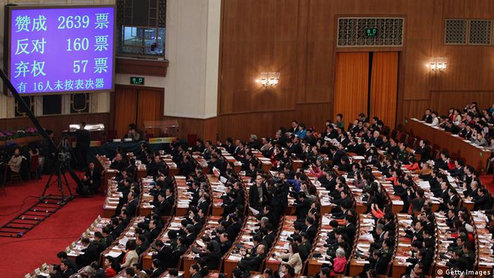 A display board shows the voting pattern on the Criminal Procedure Law, with 2639 for, 160 against and 57 abstentions, at the closing session of the National Peoples Congress (NPC) at The Great Hall Of The People on March 14, 2012 in Beijing, China. The National People's Congress (NPC), China's parliament, adopted the revision to the Criminal Procedure Law at the closing session of its annual session Wednesday. (Photo by Feng Li/Getty Images)