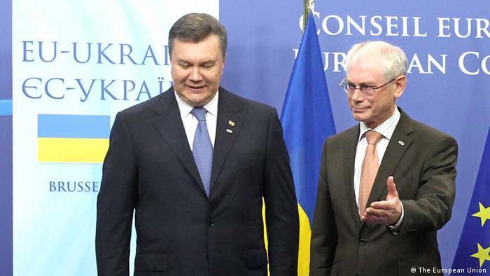 Президент Украины Янукович и председатель Европейского совета ван Ромпей