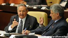 Cuban President Raul Castro (L) talks with new vice-president Miguel Diaz-Canel (R) during National Assembly of People's Power in Havana, Cuba, 24 February 2013. During the assembly Cuban President Raul Castro was reelected. EFE/ROLANDO PUJOL