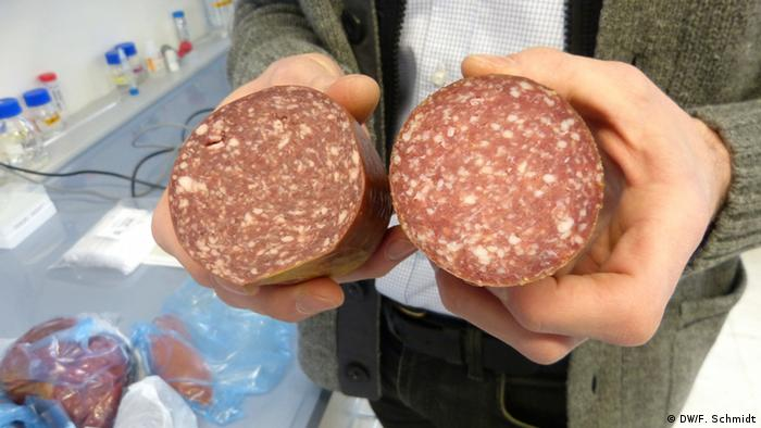 Hands holding beef and horse salami side by side