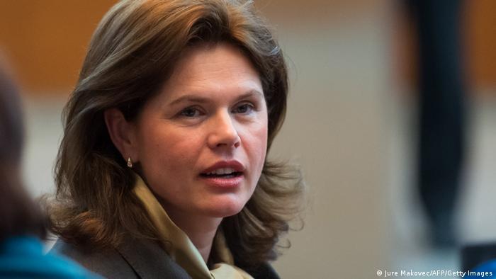 Alenka Bratusek looks toward the camera as she speaks in an assembly (Photo: Jure Makovec/AFP/Getty Images)