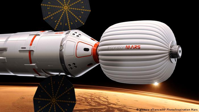 A drawing provided by Inspiration Mars shows an artist's conception of a spacecraft envisioned by the private group, which wants to send a married couple on a mission to fly by the red planet and zip back home, beginning in 2018. The nonprofit Inspiration Mars will get initial money from multimillionaire Dennis Tito, the first space tourist. Outsiders put the price tag at more than $1 billion. The mission, announced Wednesday, Feb. 27, 2013, would last more than 16 months. (AP Photo/Inspiration Mars)