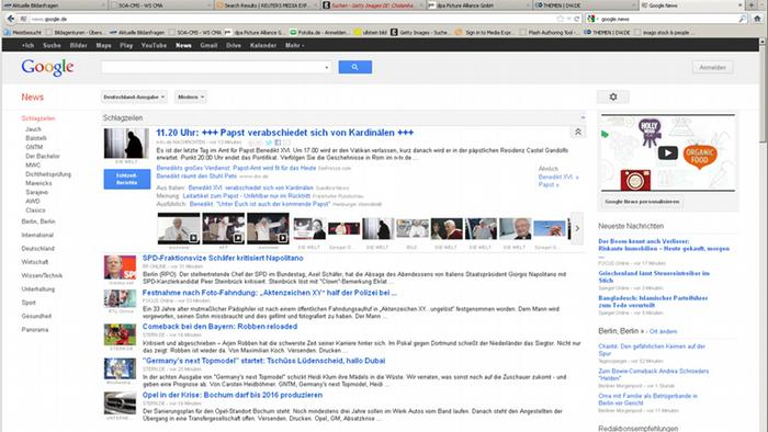 Die Internetseite google.news (Screenshot: DW)