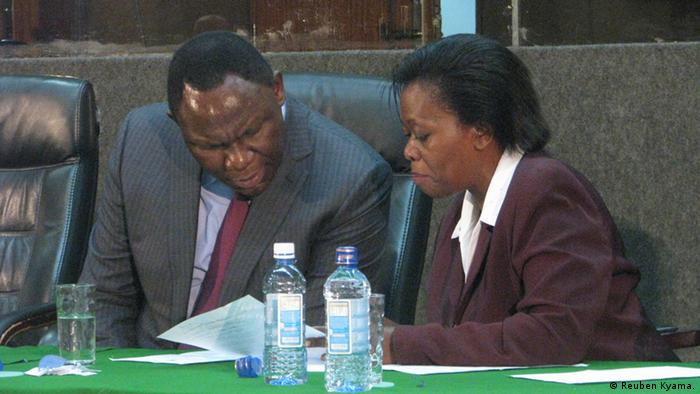 PHOTO 1 - CAPTION: Dkt. Bitange Ndemo, Permanent Secretary in Ministry of Information and Communication in Kenya (LEFT) and Ms Mary Ombara wa from special committee which assessing media reports during election.