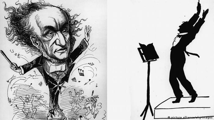 Two caricatures of Richard Wagner conducting: standing with wild eyes amidst a carnage of notes and a silouhette with Wagner's arms extended high and coattails flapping (picture alliance/akg-images)