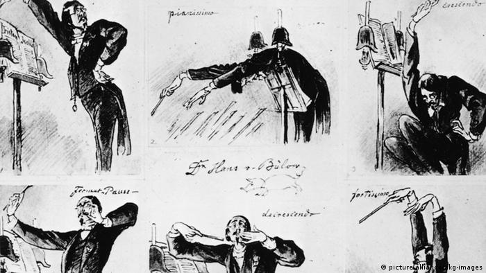Caricatures of Hans von Bülow in various absurd and exalted positions (picture alliance/akg-images)