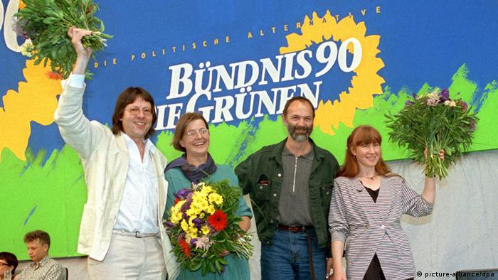 The newly-selected, unified German Green party leadership in 1993