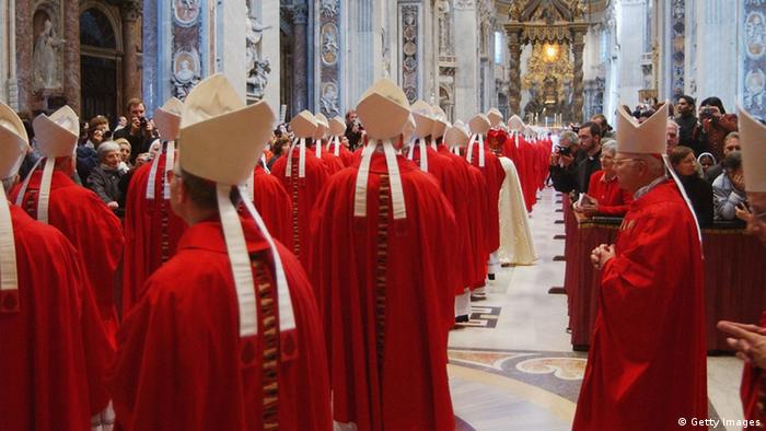 VATICAN CITY - APRIL 18: Cardinals and celebrants attend a final Mass for papal election before the start of the conclave in Saint Peter's Basilica April 18, 2005 in Vatican City. Cardinals under the age of 80 will meet to elect a new pontiff during the Conclave held in secret in the Sistine Chapel. (Photo by L`Osservatore Romano-Pool/Getty Images)
