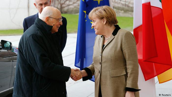 German Chancellor Angela Merkel welcomes Italy's President Giorgio Napolitano for talks in Berlin February 28, 2013. REUTERS/Tobias Schwarz