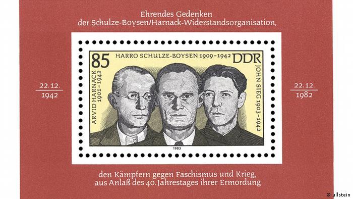DDR-Briefmarke von 1983 zum Gedenken an den 40. Jahrestag der Ermordung der Widerstandskämpfer der Roten Kapelle (Foto: Ullstein)