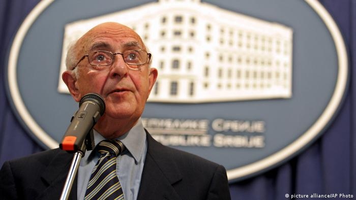 President of the U.N. tribunal for war crimes for the former Yugoslavia, Theodor Meron, speaks during a press conference after talks with Serbian Prime Minister Vojislav Kostunica, in Belgrade, Friday, Nov. 11, 2005. Meron was on a fact-finding mission in Serbia ahead of his report to the United Nations in December on the level of Belgrade's cooperation with the tribunal in The Hague, Netherlands. Meron also put pressure on the authorities to capture and hand over the court's two most wanted fugitives, Bosnian Serb wartime leader Radovan Karadzic and military commander Gen. Ratko Mladic.(AP Photo/Darko Vojinovic)