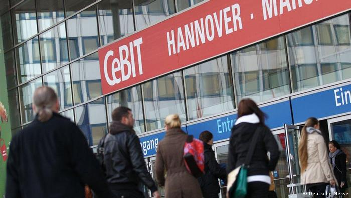 The entrance to the CeBIT fair in Hanover