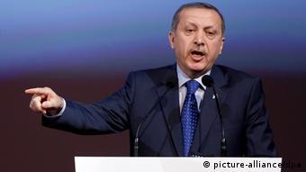 Turkish Prime Minister, Recep Tayyip Erdogan, addresses an audience EPA/GEORG HOCHMUTH
