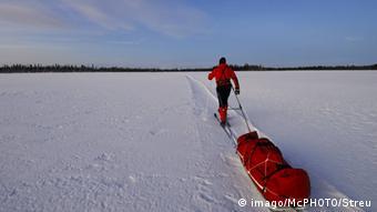 Лыжник в Лапландии