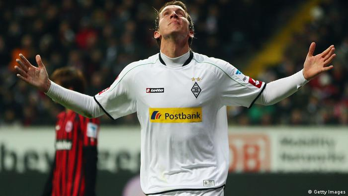 FRANKFURT AM MAIN, GERMANY - MARCH 01: Luuk de Jong of Moenchengladbach celebrates his team's first goal during the Bundesliga match between Eintracht Frankfurt and Borussia Moenchengladbach at Commerzbank-Arena on March 1, 2013 in Frankfurt am Main, Germany. (Photo by Alex Grimm/Bongarts/Getty Images)