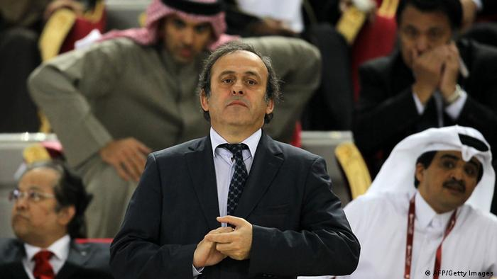 UEFA president Michel Platini attends the 2011 Asian Cup final football match between Australia and Japan at Khalifa Stadium in the Qatari capital Doha on January 29, 2011. AFP PHOTO / KARIM JAAFAR (Photo credit should read KARIM JAAFAR/AFP/Getty Images)