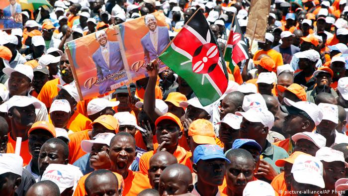 Supporters of Kenyan Prime Minister and Presidential candidate, Raila Odinga, gather at Nyayo National Stadium in Nairobi, Kenya, (AP Photo/Sayyid Azim)
