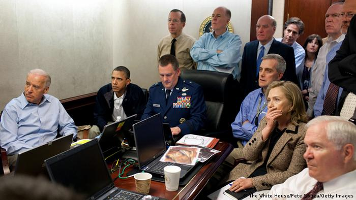 President Barack Obama, Vice President Joe Biden, Secretary of State Hillary Clinton and members of the national security team receive an update on the mission against Osama bin Laden in the Situation Room of the White House (The White House/Pete Souza/Getty Images)