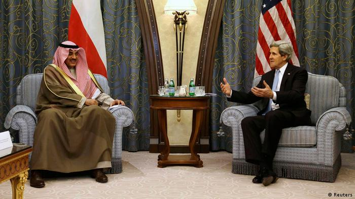 U.S. Secretary of State John Kerry (R) meets with Kuwait's Foreign Minister Sheikh Sabah Al-Sabah at a hotel in Riyadh, March 4, 2013. REUTERS/Jacquelyn Martin/Pool (SAUDI ARABIA - Tags: POLITICS)