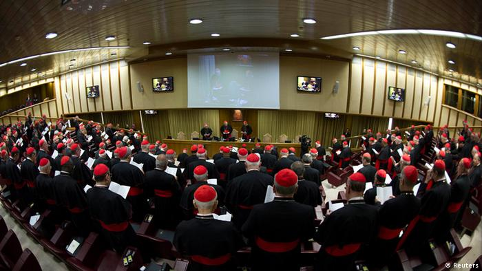 Cardinals attend a meeting at the Synod Hall in the Vatican March 4, 2013 in this photo provided by Osservatore Romano. Preparations for electing Roman Catholicism's new leader begin in earnest on Monday as the College of Cardinals opens daily talks to sketch an identikit for the next pope and ponder who among them might fit it. (Photo: REUTERS/Osservatore Romano)