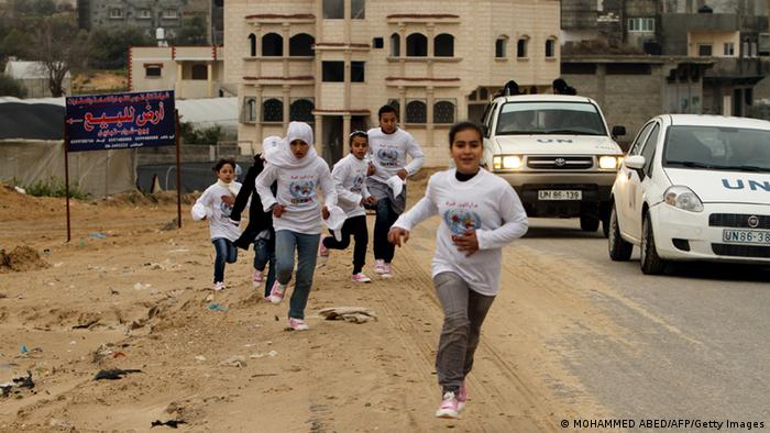 Participants compete in the UN-sponsored Gaza marathon in Gaza City on March 1, 2012. (Photo: MOHAMMED ABED/ AFP/ Getty Images)