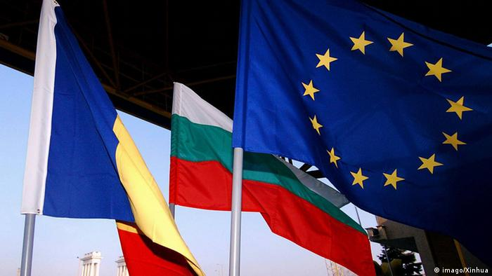 Bulgaria, Romania and EU flags