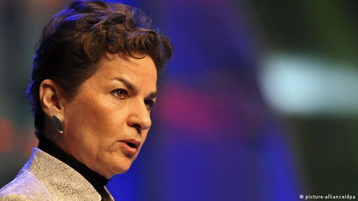 Christiana Figueres speaking at a climate change conference in Panama