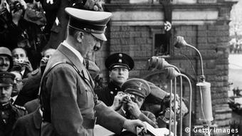 Hitler speaking from the Heldenplatz (Photo by Hulton Archive/Getty Images)