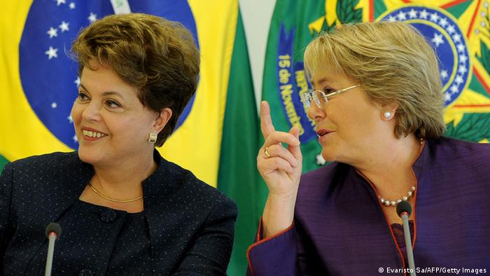 UN Women Executive Director Michelle Bachelet (R) and Brazilian President Dilma Rousseff talk during meeting at Planalto Palace in Brasilia, Brazil, on December 15, 2011. Bachelet is in Brazil to take part in the 3rd National Conference on Policies for Women. AFP PHOTO/Evaristo SA (Photo credit should read EVARISTO SA/AFP/Getty Images)