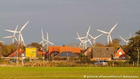 Wind turbines on German landscape