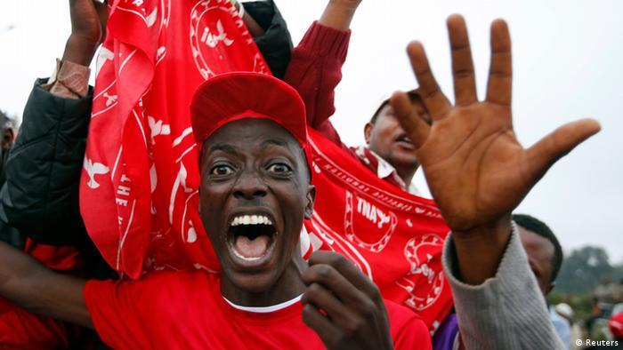 Young Kenyan man celebrates