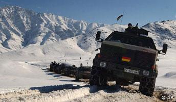 German NATO vehicles in the mountains of Afghanistan