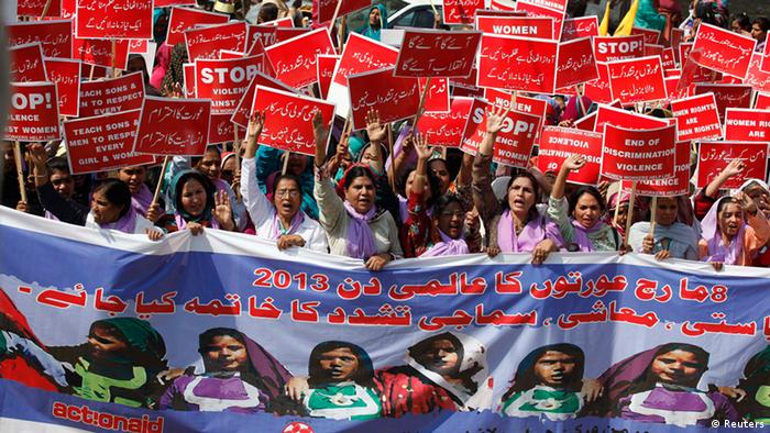 Women rally on International Women's Day in Lahore